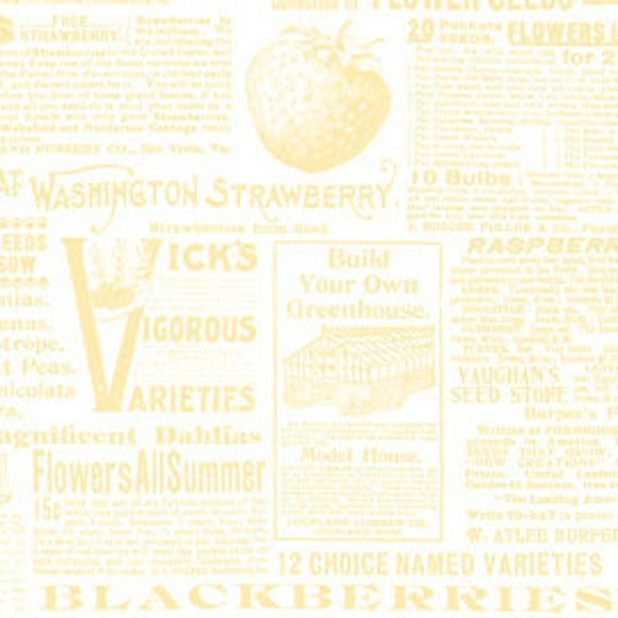 Annie's Farm Stand, Lakehouse, SEED CATALOGUE, Newsprint in Yellow, 1/2 Yard