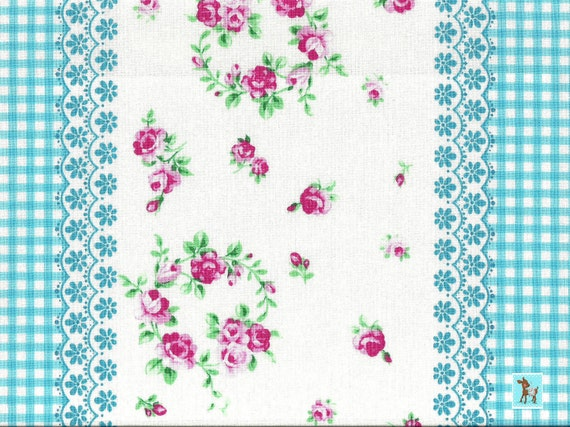 End of Bolt, Japanese, Lecien FLOWER SUGAR 3, 30283-70, Flowers and Gingham Stripes in Aqua, 7 inches