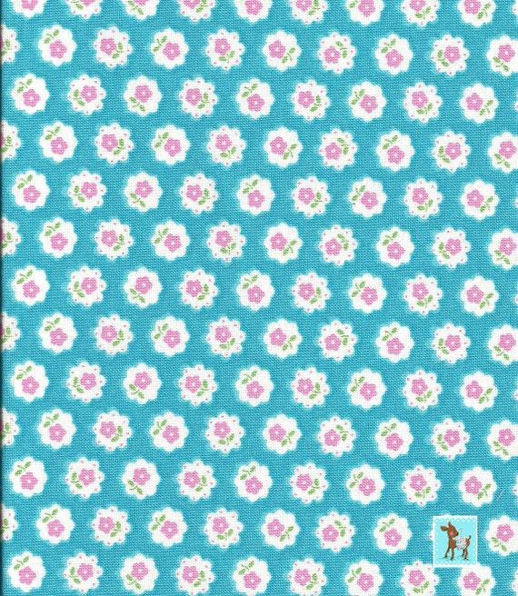 Japanese, Lecien FLOWER SUGAR 3, 30285-70, Scallop Flower Circles in Aqua, 1/2 yard