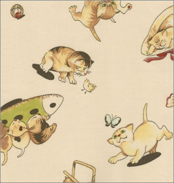 CLEARANCE, Moda, LIL' RASCALS By Chloes Closet, Kitty in Cream, 1 Yard