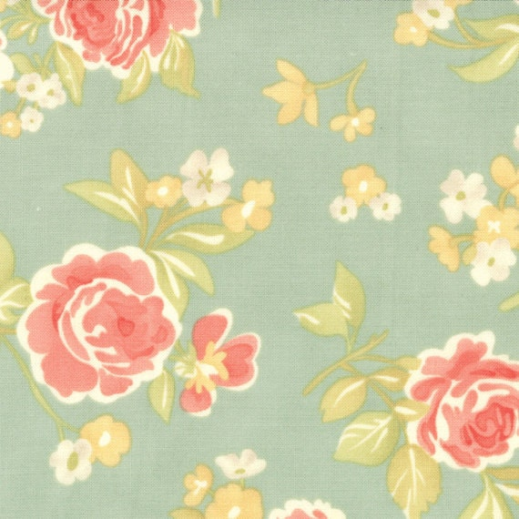 Moda, STRAWBERRY FIELDS By Fig Tree Quilts, Summer Bouquet in Pond, 1/2 Yard