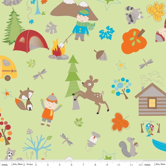 Riley Blake, FOX TRAILS, Doohickey Designs, Forest Main in Green, Fat Quarter