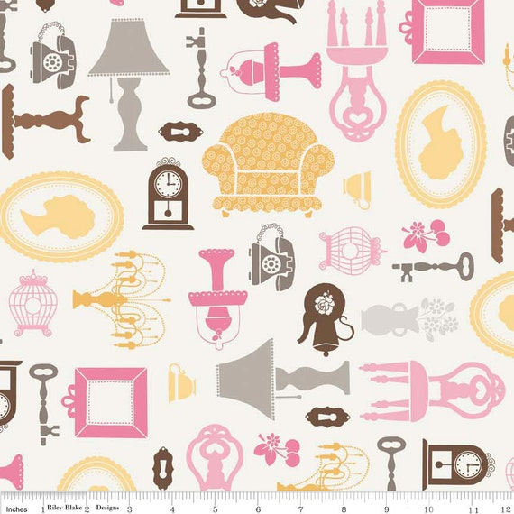 Riley Blake, Lori Holt, DAISY COTTAGE, Furniture in White, Fat Quarter