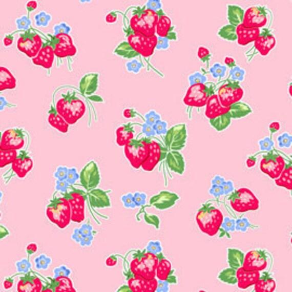 Pam Kitty Morning, Lakehouse, Strawberries in Rose Pink, 1/2 Yard