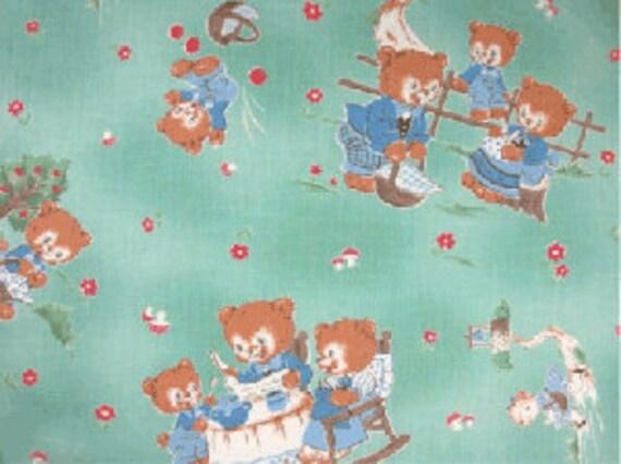 Japanese, Lecien, CHUM CHUM BEAR, Fairytale, 3 Little Bears in Turquoise, 1/2 Yard