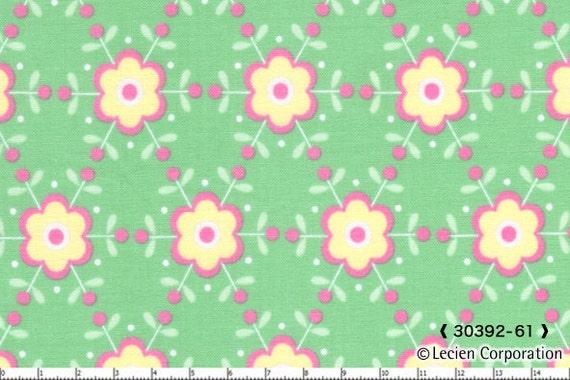 Japanese, Lecien FOLK HEART, Rosalie Quinlan, Floral Lattice in Green, Fat Quarter