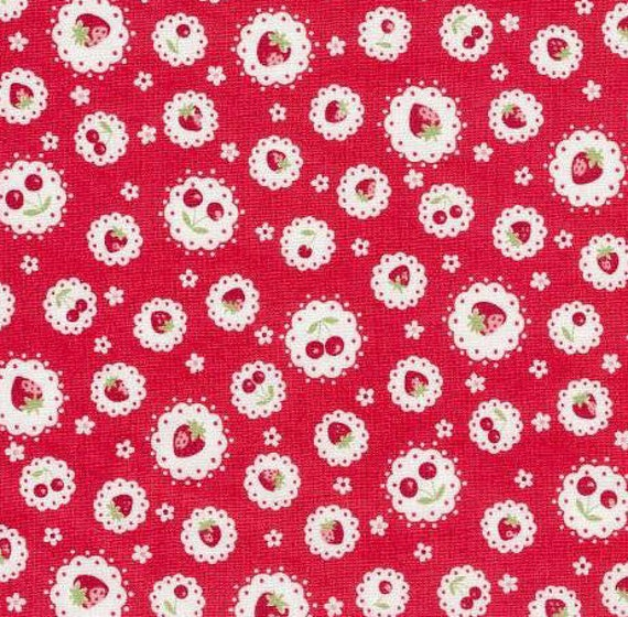 Japanese, ATSUKO MATSUYAMA, 30's Collection, Strawberry and Cherry Doilies in Red, Fat Quarter