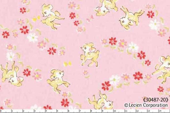 End of Bolt, Japanese, Lecien, OLD NEW 30'S, Deers in a Meadow on Pink, 30487-20, 12 inches