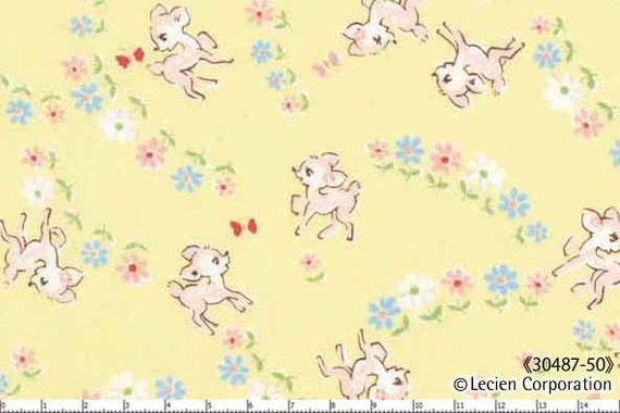 Japanese, Lecien, OLD NEW 30'S, Deers in a Meadow on Yellow, 30487-50, 1/2 Yard