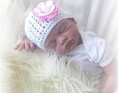 Baby girl Crochet Beanie Hat in White with pink Flower