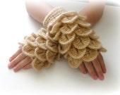 Fingerless Gloves , Gloves, Caramel, Brown, light brown,  Trendy, Girly, Teenie, Women, Flower