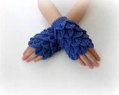 Fingerless Gloves , Marine, Royal Blue,  Trendy, Girly, Teenie, Women, Flower