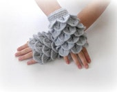 Fingerless Gloves , Gray, Grey,  Trendy, Grily, Teenie, Women, Flower, Crochet gloves, Mittens, Gray gloves