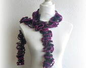 Scarf, Shawl in , dark green, Purple, Magenta