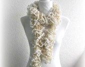 Scarf, Hand Knitted Scarf.  Cream Knitted Scarf.   Knitted Scarf.  Soft Hand Knitted Scarf, Ivory