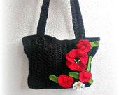 Handbag  crochet with Poppy flowers OOAK