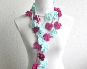 Crochet lariat scarf with Flower in Magenta, Necklace, Mint, Aqua, Crochet Floral Necklace, Feminine, Trendy, Spring, Summer, Harvest,