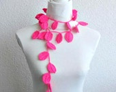 Crochet lariat scarf with Leaves in Pink, Fuchsia, Magenta, Neon,  Feminine, Trendy, Spring, Summer, Harvest,