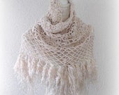 Beautiful Triangle Shawl, Neckwarmer in Creme, Ivory, Beige with Fringe and with glitter effect OOAK