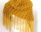 Crocheted Shawl, Triangle Shawl in Mustard, Saffron, Princeton orange, Pastel orange, Gamboge, Tangerine,