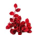 Crochet lariat scarf with Leaves in Red, Burgundy, Feminine, Trendy, Spring, Summer, Harvest,
