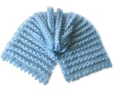 Rectiangle Shawl, Neckwarmer in Blue, Baby blue, Sky blue, Pale,  Angora, Mohair, Crochet Shawls, - soft purple