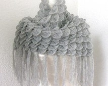 Triangle Mohair  Shawl, Neckwarmer in Gray, Grey, Pastel with Glitter effect, Gray fringed mohair crocheted triangle shawl/stole