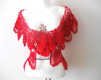 Bolero, Cardigan, crochet circle wrap in Red, Cranberry Shrug