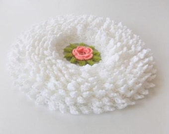 Romantic Country style bathroom washcloth or Smell cushion in White with Salmon Flower