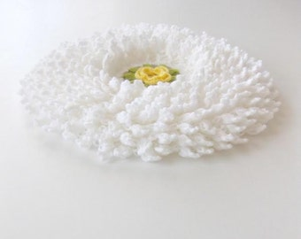 Romantic Country style bathroom washcloth or Smell cushion in White withYellow DaisyFlower