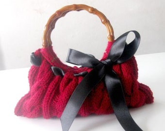 Romantic Knitted Bag, Clutch in Burgundy, Chestnut, Redwood , Crimson, Cardinal, Amaranth with Ribbon