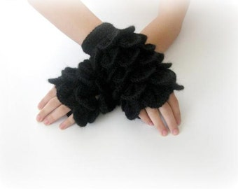 Fingerless Gloves , Black,  Trendy, Girly, Teenie, Women, Flower