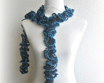 Scarf, Shawl in , Teal and Blue