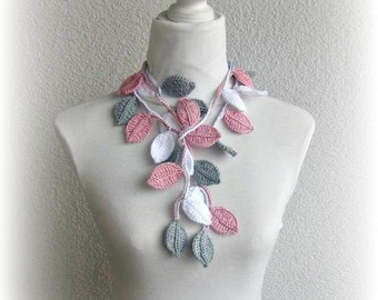 Crochet lariat scarf with Leaves in Dusty rose, White, Gray, Necklace