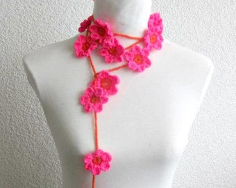 Crochet lariat scarf with Flower in Orange, Magenta, Fuchsia,  Necklace,   Floral Necklace, Feminine, Trendy, Spring, Summer, Harvest,