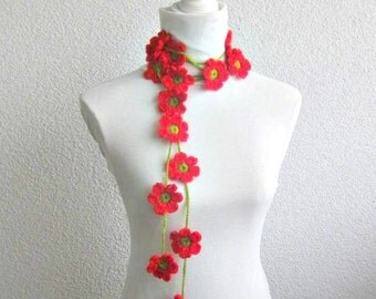 Crochet lariat scarf with Flower in Red, Green,  Necklace,  Crochet Floral Necklace, Feminine, Trendy, Infinity, Summer, Harvest,