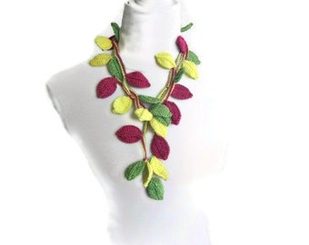 Crochet lariat scarf with Leaves in Magenta, Green, Yellow, Necklace