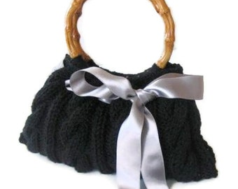 Romantic Knitted Bag, Clutch in Black, with Gray Ribbon