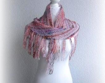 Triangle Shawl, Neckwarmer dusty rose, rainbow, Colorful