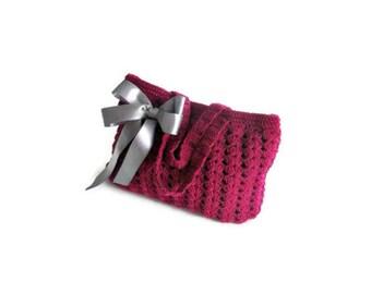 Romantic,  Crochet Bag, Clutch in Burgundy, raspberry, with Ribbon, Woman, Handbags,  Clutch, Handbags, Trendy,