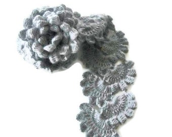Hand Crochet Wrap Scarf Snood in Gray, Grey, Silver, Crocheted Lace Scarf