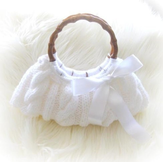 Romantic Knitted Bag, Clutch in White with  White Ribbon, Bridal, Bride