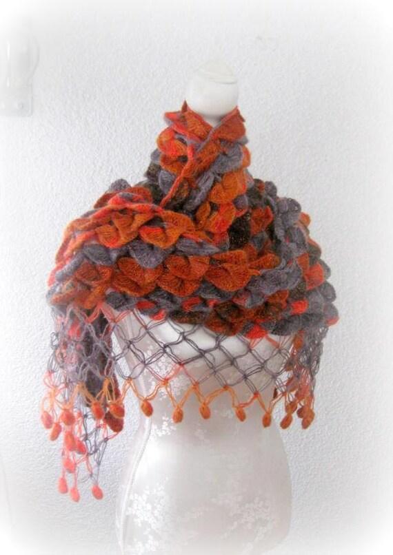 Triangle Shawl, Neckwarmer  Multicolored maroon, Scarlet, Carnelian, Rust, Khaki, Sepia, Grey, charcoal,