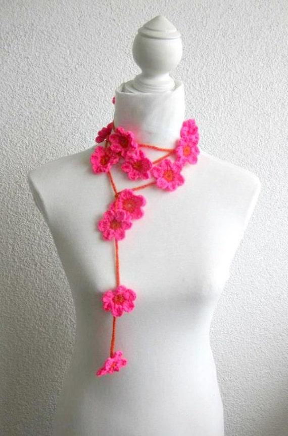 Crochet lariat scarf with Flower in Orange, Magenta, Fuchsia,  Necklace,   Floral Necklace, Feminine, Trendy, Spring, Summer, Harvest,