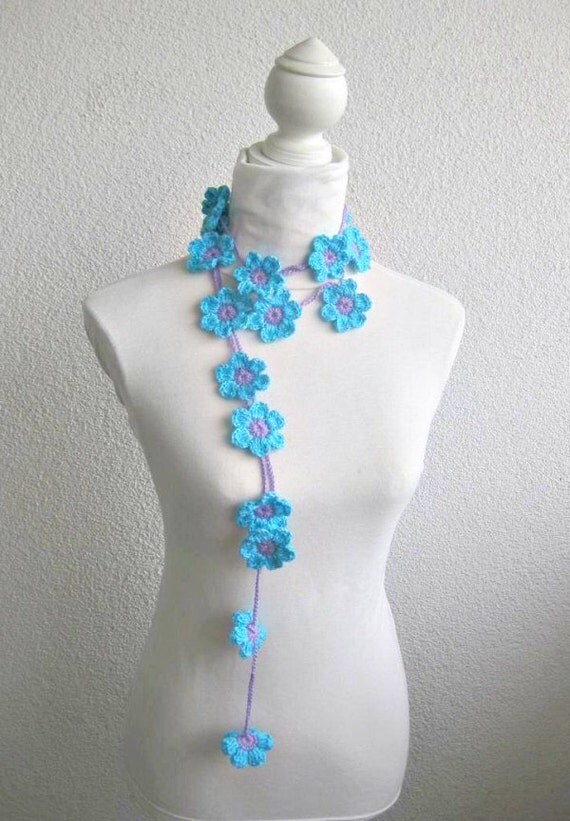 Crochet lariat scarf with Flower in Lilac, Blue, Purple,  Necklace,  Crochet Floral Necklace, Feminine, Trendy, Spring, Summer, Harvest,