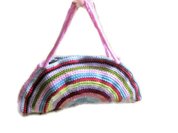 OOAK, Crochet Bag, Clutch, Colorful, Rainbow, Pink, Blue, Green, Yellow, Purple, Amethyst, Orchid,  Shabby, Chic, Circle, Stripe