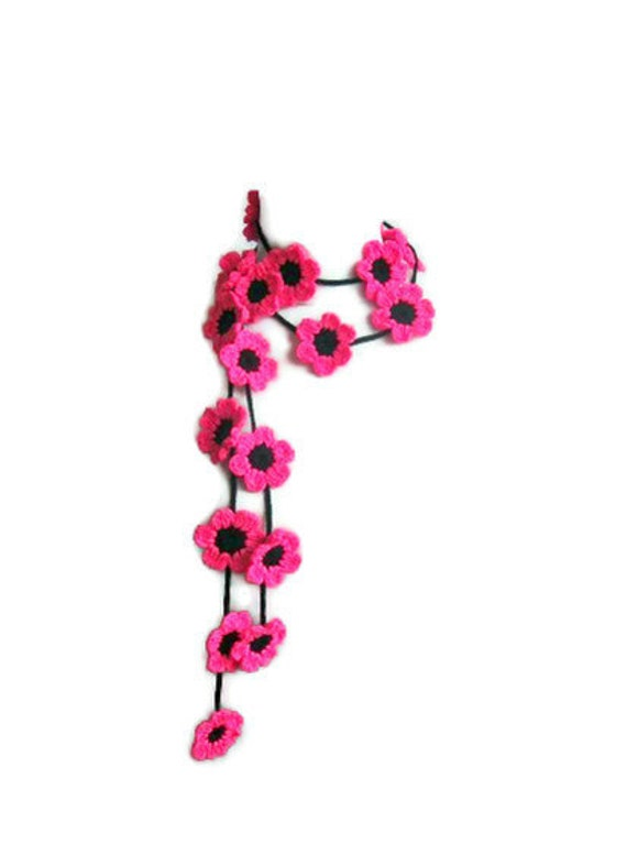 Crochet lariat, with Flower in Pink, Magenta, Black, Cherry Blossom,  Necklace,  Crochet Floral Necklace, Trendy, Infinity, Summer, Harvest,