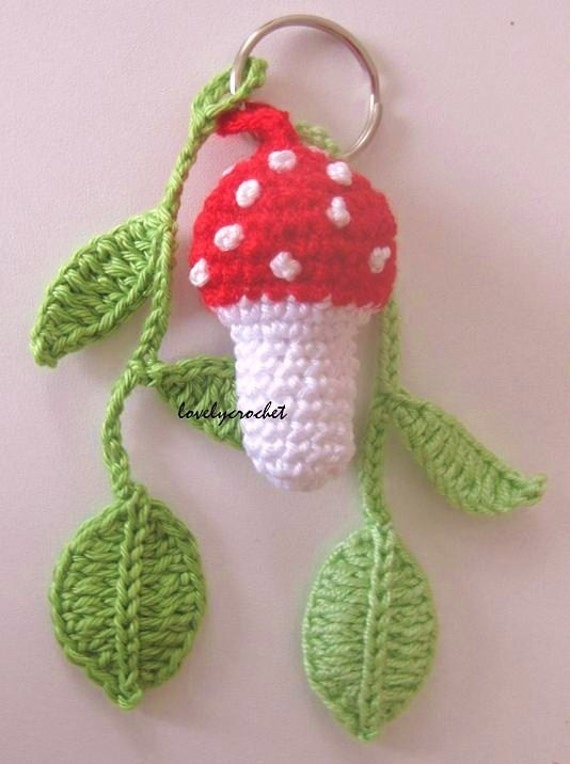 Mushroom as keychain with sheets
