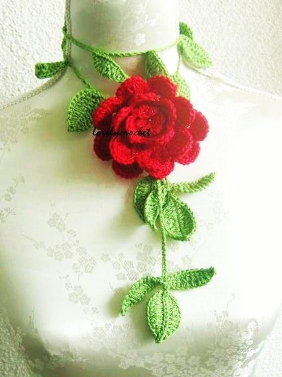Crochet Jewelry, Flower Necklace in green red