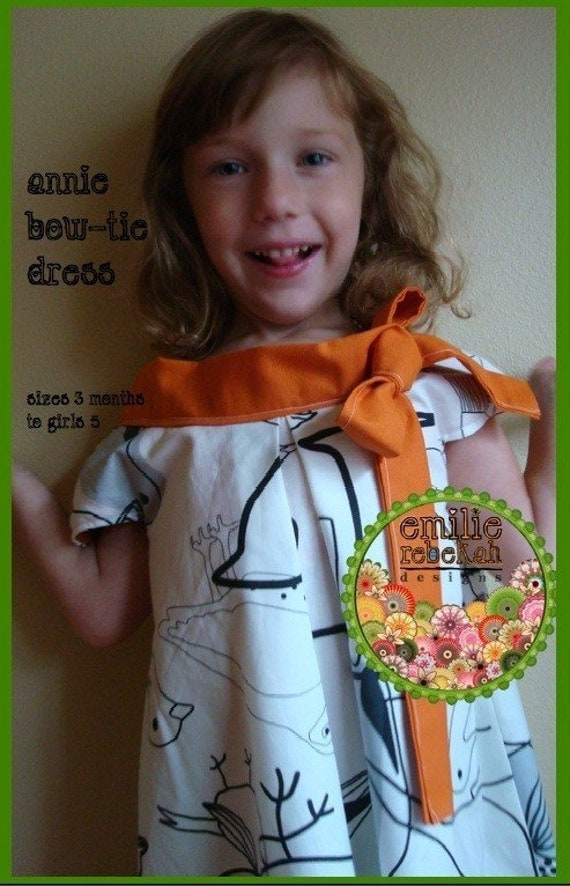 Easy Sewing Pattern Annie Bow Tie Dress Sizes 5-8 -- PDF Tutorial Instructions